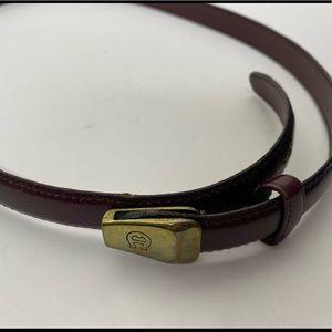 Etienne Aigner Leather Belt Size 30 Skinny Brown